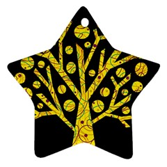 Yellow Magical Tree Star Ornament (two Sides)  by Valentinaart