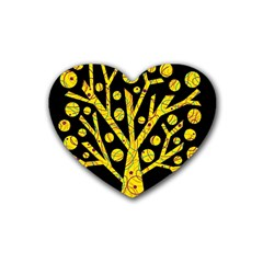 Yellow Magical Tree Rubber Coaster (heart)  by Valentinaart