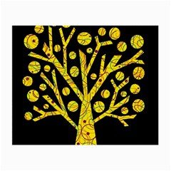 Yellow Magical Tree Small Glasses Cloth (2 Side) by Valentinaart
