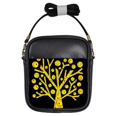 Yellow Magical Tree Girls Sling Bags by Valentinaart