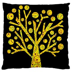 Yellow Magical Tree Large Flano Cushion Case (one Side) by Valentinaart