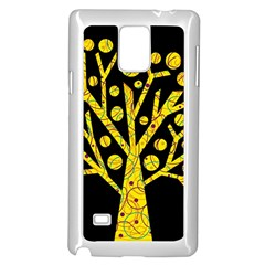 Yellow Magical Tree Samsung Galaxy Note 4 Case (white)