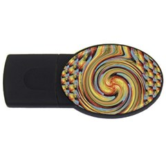 Gold Blue And Red Swirl Pattern Usb Flash Drive Oval (4 Gb)  by digitaldivadesigns