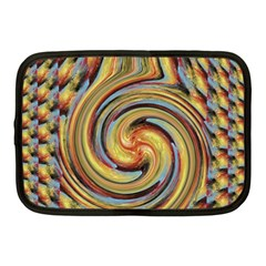 Gold Blue And Red Swirl Pattern Netbook Case (medium)  by digitaldivadesigns