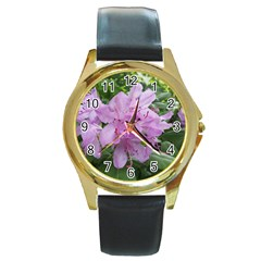 Purple Rhododendron Flower Round Gold Metal Watch by picsaspassion