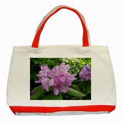 Purple Rhododendron Flower Classic Tote Bag (red) by picsaspassion