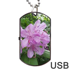 Purple Rhododendron Flower Dog Tag Usb Flash (two Sides)