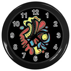 Colorful Abstract Spot Wall Clocks (black) by Valentinaart