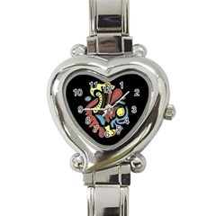 Colorful Abstract Spot Heart Italian Charm Watch by Valentinaart