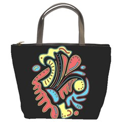 Colorful Abstract Spot Bucket Bags by Valentinaart