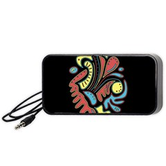 Colorful Abstract Spot Portable Speaker (black)  by Valentinaart