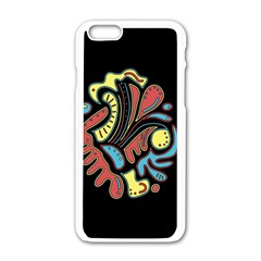 Colorful Abstract Spot Apple Iphone 6/6s White Enamel Case by Valentinaart