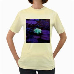 Lotus Flower Magical Colors Purple Blue Turquoise Women s Yellow T Shirt by yoursparklingshop