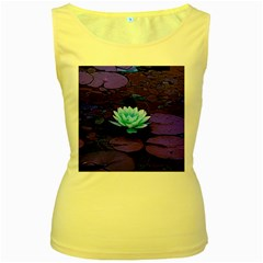 Lotus Flower Magical Colors Purple Blue Turquoise Women s Yellow Tank Top by yoursparklingshop