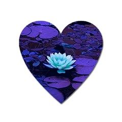 Lotus Flower Magical Colors Purple Blue Turquoise Heart Magnet by yoursparklingshop