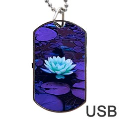 Lotus Flower Magical Colors Purple Blue Turquoise Dog Tag Usb Flash (one Side) by yoursparklingshop