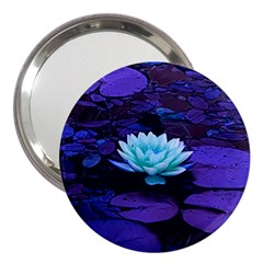 Lotus Flower Magical Colors Purple Blue Turquoise 3  Handbag Mirrors by yoursparklingshop