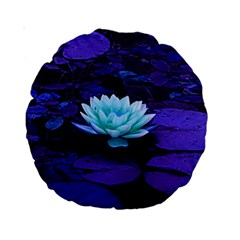 Lotus Flower Magical Colors Purple Blue Turquoise Standard 15  Premium Round Cushions by yoursparklingshop