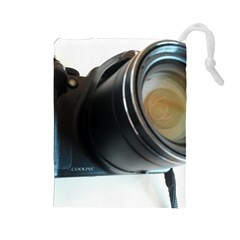 My Camera Drawstring Pouches (large)  by picsaspassion