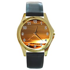 Summer Sunset Round Gold Metal Watch by picsaspassion
