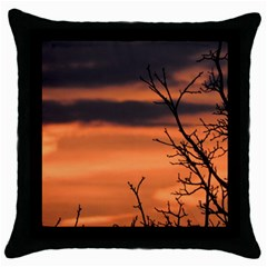 Tree Branches And Sunset Throw Pillow Case (black) by picsaspassion