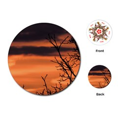 Tree Branches And Sunset Playing Cards (round)  by picsaspassion
