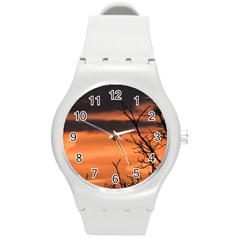 Tree Branches And Sunset Round Plastic Sport Watch (m) by picsaspassion