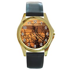 Colorful Sunset Round Gold Metal Watch by picsaspassion