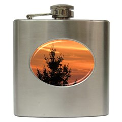 Christmas Tree And Sunset Hip Flask (6 Oz) by picsaspassion