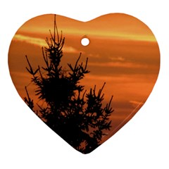 Christmas Tree And Sunset Heart Ornament (2 Sides)