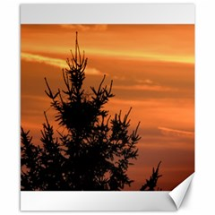 Christmas Tree And Sunset Canvas 8  X 10