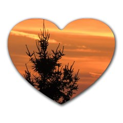 Christmas Tree And Sunset Heart Mousepads by picsaspassion