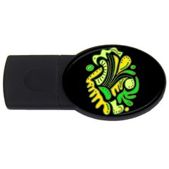 Yellow And Green Spot Usb Flash Drive Oval (2 Gb)