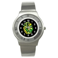 Yellow And Green Spot Stainless Steel Watch by Valentinaart