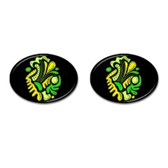 Yellow And Green Spot Cufflinks (oval)