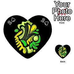 Yellow And Green Spot Playing Cards 54 (heart)  by Valentinaart