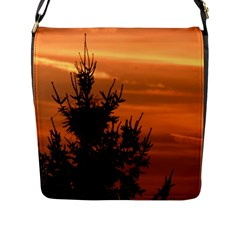 Christmas Tree And Sunset Flap Messenger Bag (l)  by picsaspassion