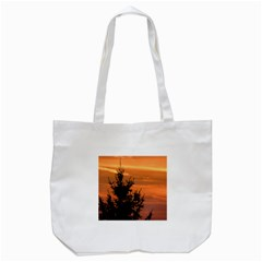 Christmas Tree And Sunset Tote Bag (white)