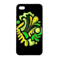 Yellow And Green Spot Apple Iphone 4/4s Seamless Case (black) by Valentinaart