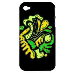 Yellow And Green Spot Apple Iphone 4/4s Hardshell Case (pc+silicone) by Valentinaart