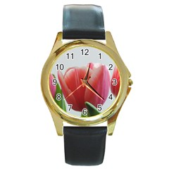 Red Tulips Round Gold Metal Watch by picsaspassion