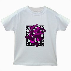 Something Purple Kids White T Shirts by Valentinaart