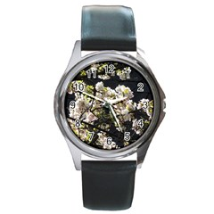 Blooming Japanese Cherry Flowers Round Metal Watch by picsaspassion