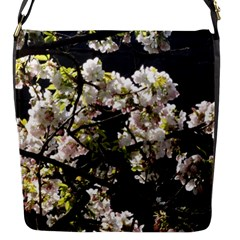 Blooming Japanese Cherry Flowers Flap Messenger Bag (s) by picsaspassion