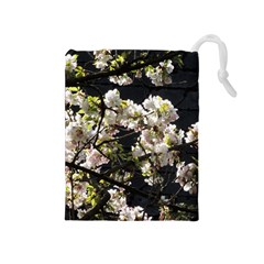 Blooming Japanese Cherry Flowers Drawstring Pouches (medium)  by picsaspassion