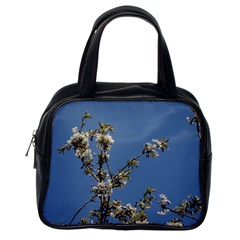 White Cherry Flowers And Blue Sky Classic Handbags (one Side) by picsaspassion