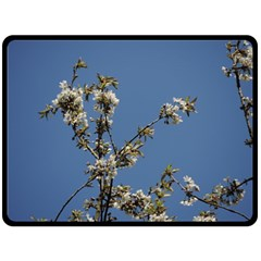 White Cherry Flowers And Blue Sky Double Sided Fleece Blanket (large)  by picsaspassion