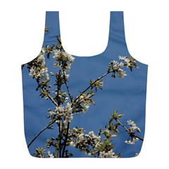 White Cherry Flowers And Blue Sky Full Print Recycle Bags (l)  by picsaspassion