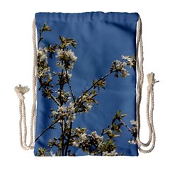 White Cherry Flowers And Blue Sky Drawstring Bag (large)