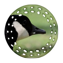 Goose, Black And White Round Filigree Ornament (2side)